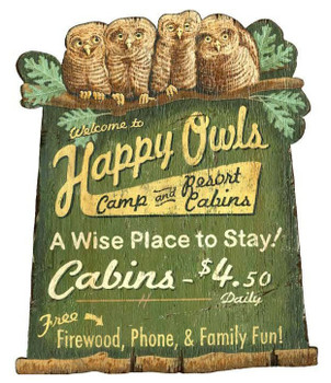Custom Large Happy Owls Camp & Cabins Cutout Vintage Style Wooden Sign