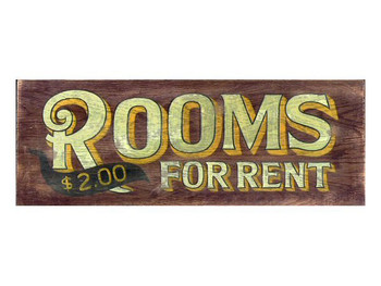 Custom Rooms for Rent Vintage Style Wooden Sign
