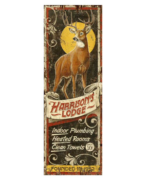 Custom Harrison's Deer Lodge Vintage Style Wooden Sign