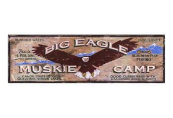Custom Big Eagle Muskie Camp Vintage Style Wooden Sign