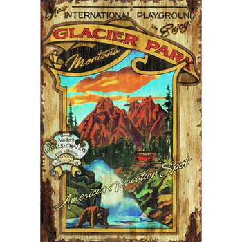 Custom Glacier Park Montana Vintage Style Wooden Sign