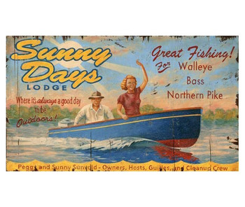 Custom Sunny Days Lodge Lake Resort Vintage Style Wooden Sign