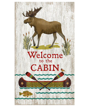 Custom Moose Welcome to the Cabin Vintage Style Wooden Sign