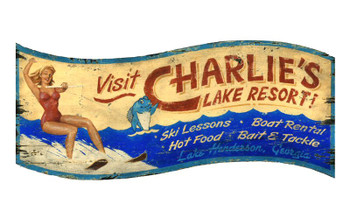 Custom Charlies Lake Resort Vintage Style Wooden Sign
