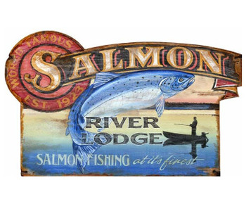 Custom Large Salmon River Lodge Vintage Style Wooden Sign