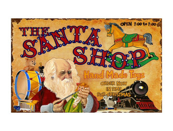 Custom Santa Shoppe Vintage Style Wooden Sign