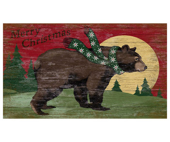Custom Merry Christmas Bear & Moon Vintage Style Wooden Sign