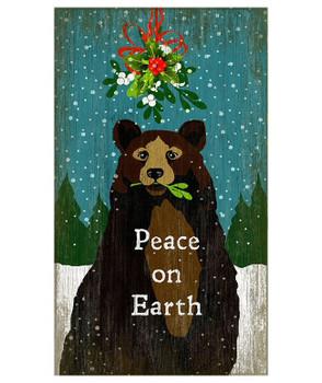 Custom Mistletoe Christmas Bear Vintage Style Wooden Sign