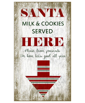 Custom Santa Milk & Cookies Vintage Style Wooden Sign