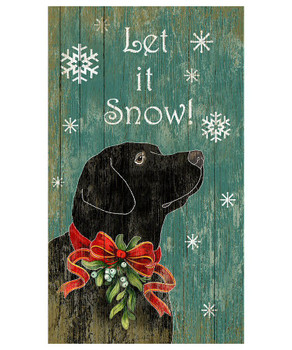 Custom Black Lab Dog Let It Snow Vintage Style Wooden Sign