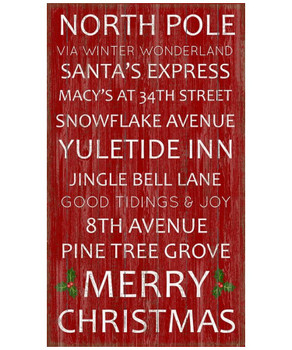 Custom Christmas Sayings Subway Vintage Style Wooden Sign