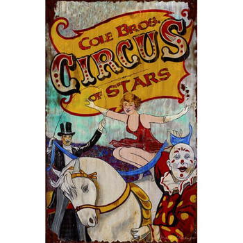 Custom Cole Bros Circus of Stars Vintage Style Wooden Sign