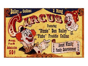 Custom Bailey & Collins 3 Ring Circus Vintage Style Wooden Sign