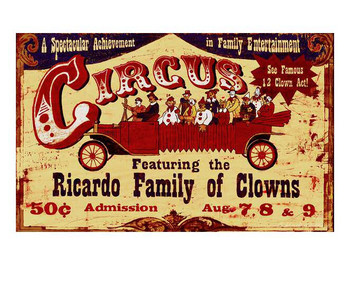 Custom Circus Ricardo Family of Clowns Vintage Style Wooden Sign