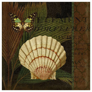 Trinidad 4 Seashell and Butterfly Vintage Style Wooden Sign