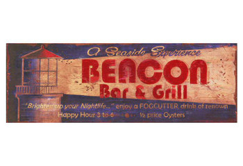Custom Beacon Bar and Grill Vintage Style Wooden Sign