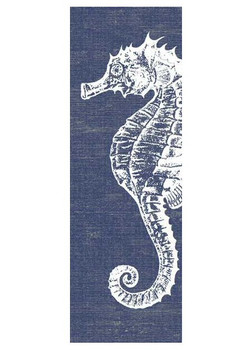 Seahorse with Denim Background Vintage Style Wooden Sign