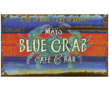 Custom Blue Crab Cafe and Bar Vintage Style Wooden Sign