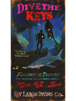Custom Dive the Keys Vintage Style Wooden Sign