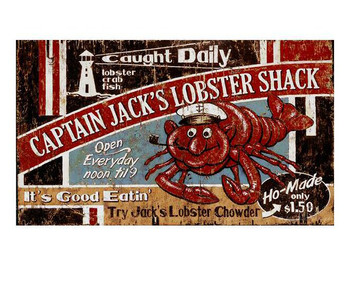 Custom Captain Jacks Lobster Shack Vintage Style Wooden Sign