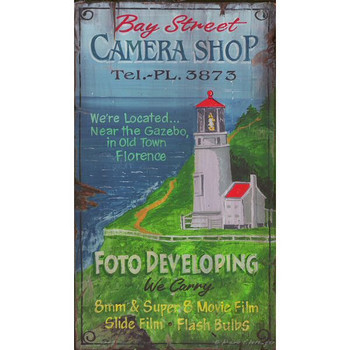 Custom Bay Street Camera Shop Vintage Style Wooden Sign