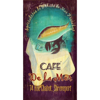 Custom Cafe De La Mer Vintage Style Wooden Sign