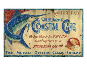 Custom Crenshaws Coastal Cafe Vintage Style Wooden Sign