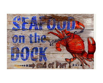 Custom Seafood On The Dock Vintage Style Wooden Sign