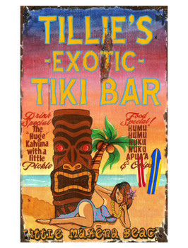 Custom Tiki Bar Vintage Style Wooden Sign