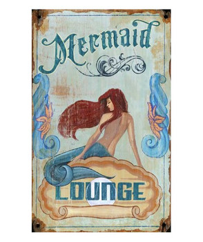 Custom Mermaid Lounge Vintage Style Wooden Sign