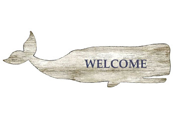 White Whale Welcome Vintage Style Cutout Wooden Sign