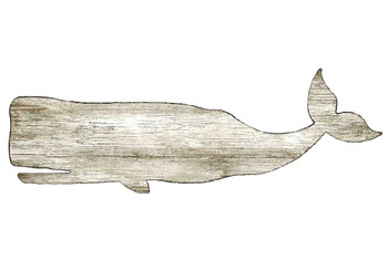 White Whale Vintage Style Cutout Wooden Sign