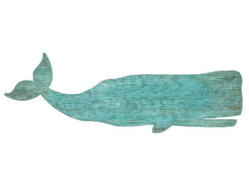 Aqua Color Whale Vintage Style Cutout Wooden Sign