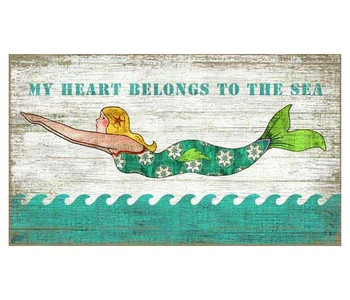 Diving Mermaid Vintage Style Wooden Sign