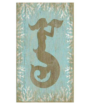 Mermaid with Seashell Vintage Style Wooden Sign
