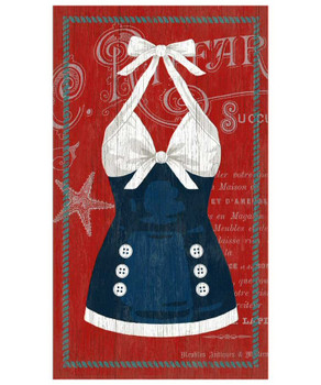 Old Fashioned Blue & White Swimsuit Vintage Style Wooden Sign