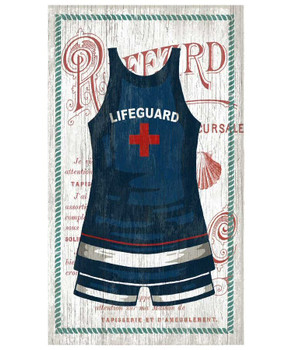 Old Fashioned Lifeguard Swimsuit Vintage Style Wooden Sign