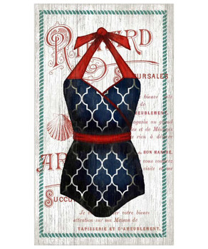 Old Fashioned Red White & Blue Swimsuit Vintage Style Wooden Sign