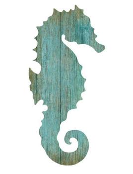 Left Aqua Seahorse Silhouette Vintage Style Wooden Sign