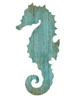 Right Aqua Seahorse Silhouette Vintage Style Wooden Sign