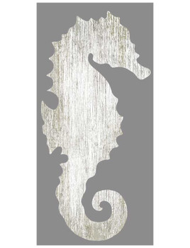 Left White Seahorse Silhouette Vintage Style Wooden Sign