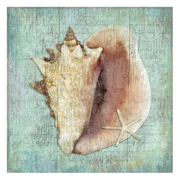 Conch Seashell and Starfish Vintage Style Wooden Sign