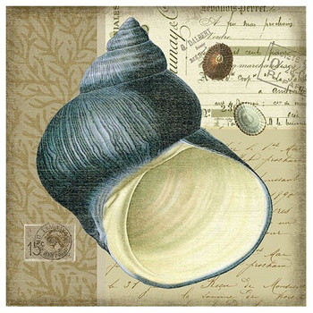 Indigo 2 Blue Seashell Vintage Style Wooden Sign