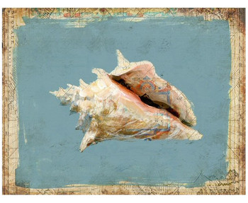 Custom Conch Shell Vintage Style Wooden Sign