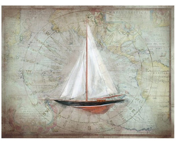 Custom Red Sloop Sailboat with Map Vintage Style Wooden Sign