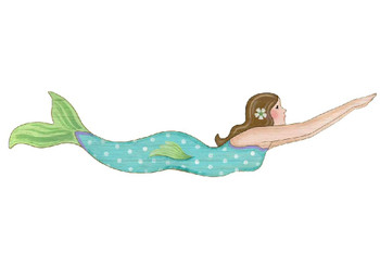 Brunette Mermaid Vintage Style Cutout Wooden Sign