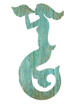 Right Aqua Mermaid Silhouette Vintage Style Wooden Sign