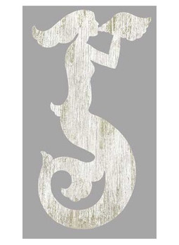 Left White Mermaid Silhouette Vintage Style Wooden Sign