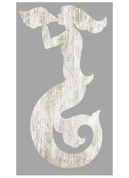 Right White Mermaid Silhouette Vintage Style Wooden Sign