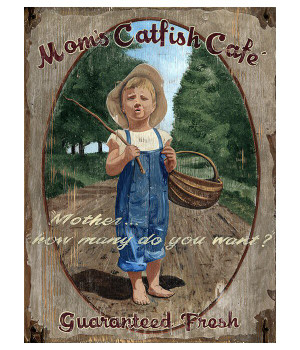 Custom Mom's Catfish Cafe Vintage Style Wooden Sign